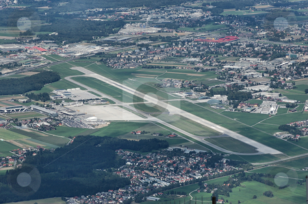 Salzburg Airport stock photo, Salzburg Airport as seen from the top of Untersberg by Alexander Gerzabek