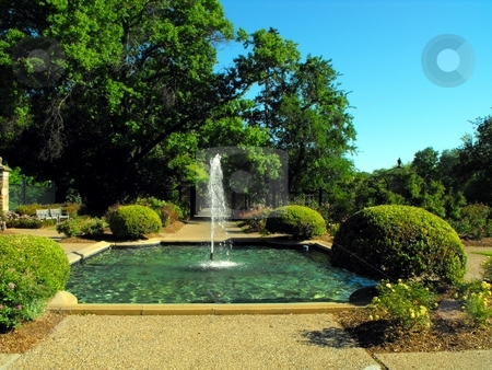 Water fountain stock photo, A fountain in the Fort Worth Botanic gardens by Robert Brown