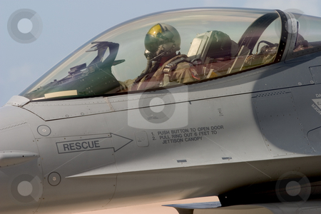 Ready for Take-Off stock photo, An F-16 pilot prepares to taxi out to the runway for take-off, at the 50th Anniversary Miramar Air Show, California. by Rick Parsons