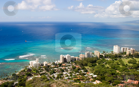 Hawaiian Ocean stock photo, Overlooking the beautiful South Oahu coastline from the top of Diamond Head. by Rick Parsons