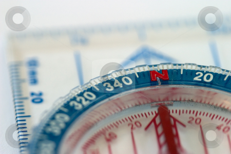 Compass Macro stock photo, Close-up of a compass, shallow depth of field. by Rick Parsons