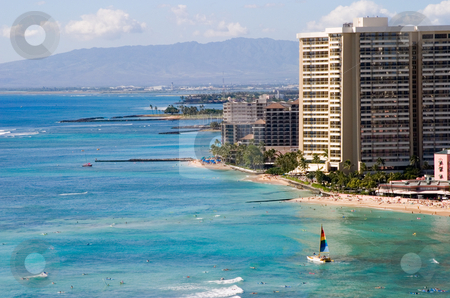 Waikiki Beaches stock photo, A view of the Waikiki coastline. by Rick Parsons