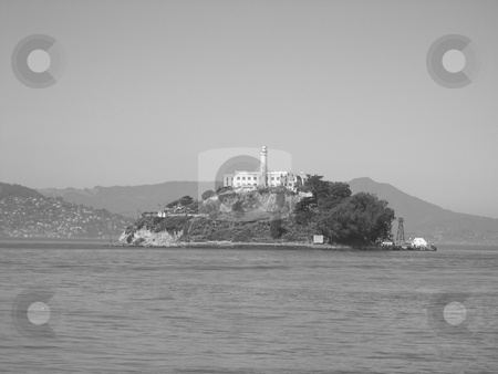 Alcatraz prison stock photo, Black and white image of Alcatraz prison, San Francisco by Jaime Pharr