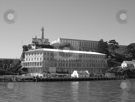 Alcatraz barracks stock photo, Black and white image of Alcatraz barracks by Jaime Pharr