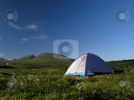 Camping stock photo, Camping in the mountains by Ingvar Bjork