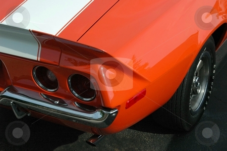 71 Camaro Rear Corner Orange  stock photo, This is an unusual color for a Camaro. by Joe Shortridge