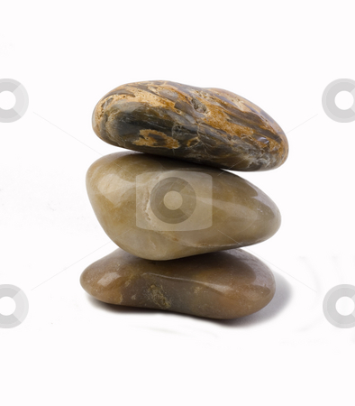 River rocks stock photo, Three rocks piled one on top of the other by Jonathan Hull