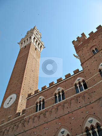 Siena Torre Mangia stock photo, A view from  Piazza del Campo of the Palazzo Comunale and Torre del Mangia, Siena, Tuscany, Italy by Roberto Marinello