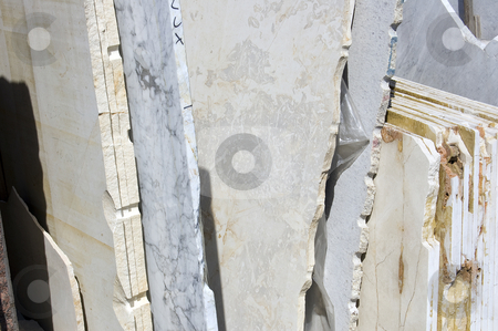 White marble slabs stock photo, A stack of white marble slabs, Tuscany, Italy by Roberto Marinello