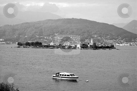 Lago Maggiore Isola Pescatori stock photo, An old style black and white picture of the Isola dei Pescatori, Lago Maggiore, Italy by Roberto Marinello