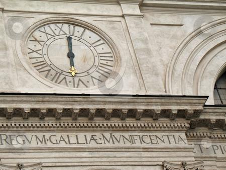 Trinita' dei Monti Clock stock photo, Trinit? dei Monti, famous church in Rome. Scenographic dominance above the Spanish Steps that descend into the Piazza di Spagna by Roberto Marinello