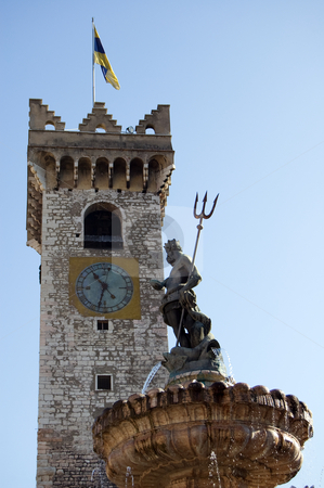 Trento nettuno and torre civica stock photo, View from Piazza Duomo of the Nettuno fountain with the Torre Civica in background, Trento, Italy by Roberto Marinello