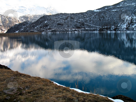 Hydroelectric basin stock photo, An hydroelectric basin in high mountain by Roberto Marinello