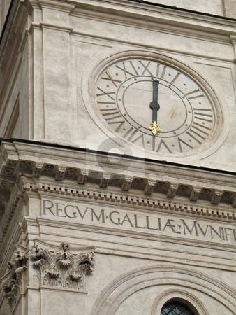Trinita' dei Monti Clock detail stock photo, Trinit? dei Monti, famous church in Rome. Scenographic dominance above the Spanish Steps that descend into the Piazza di Spagna by Roberto Marinello