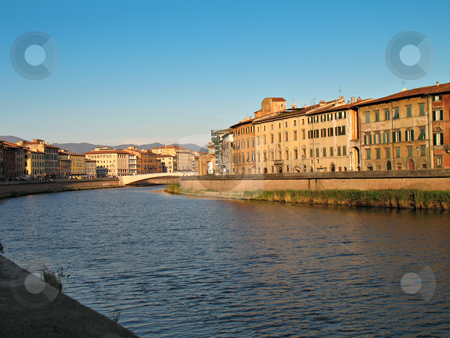 Pisa Lungarno stock photo, A view of the Arno River, buildings, bridge. Pisa, Italy by Roberto Marinello