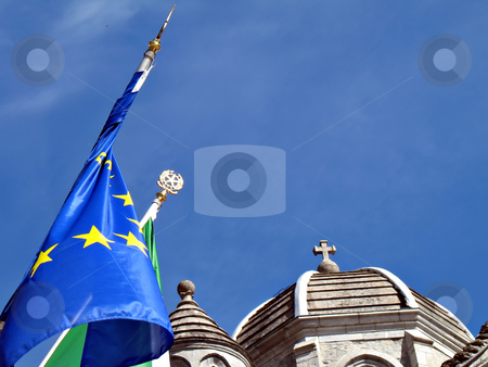 State and Church stock photo, Concept photo, State vs Church, State symbols and Churh symbols by Roberto Marinello