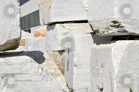White marble blocks stock photo, Blocks of white marble in Carrara, Tuscany, Italy by Roberto Marinello