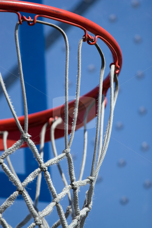 Basketball Hoop stock photo, Closeup detail of a playground basketball goal and net.  Shallow depth of field. by Todd Arena