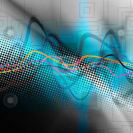 Graphic Audio Waveform stock photo, An audio waveform over an abstract background. by Todd Arena