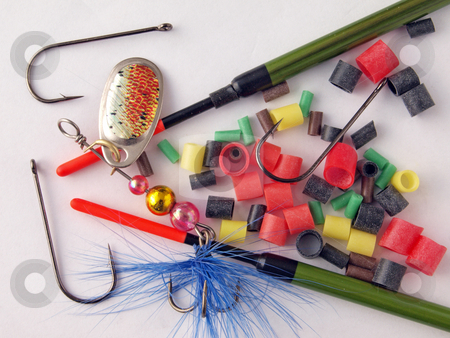 Fishing tackle stock photo, Equipment used by fishermen to catch fish. by Ian Langley