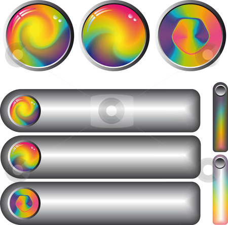Rainbow fantasy web buttons stock vector clipart, Collection of rainbow by Karin Claus