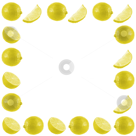 Lemon Frame stock photo, A bunch of fresh isolated lemons on a white background. by Travis Manley