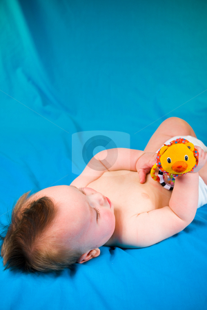 Cute Baby Boy stock photo, A portrait of a cute five month old baby boy. Shallow depth of field and copy space. by Travis Manley