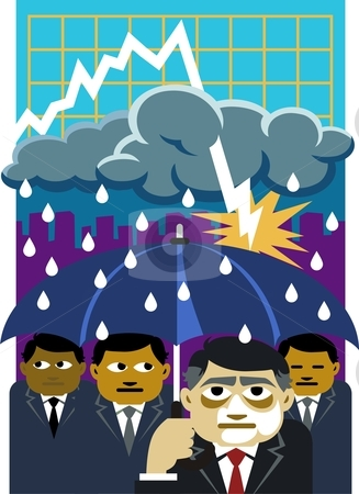 Recession dampens the economic  stock vector clipart, Conceptual illustration suggesting how the recession has adversely affected the mood of businessmen and executives by Orven Enoveso