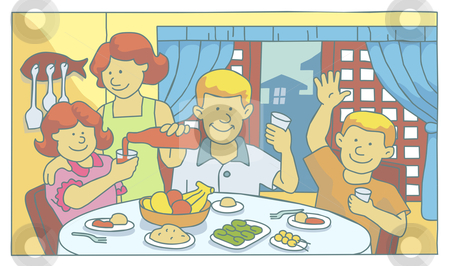Family at mealtime stock vector clipart, Illustration of a family having a meal together by Orven Enoveso