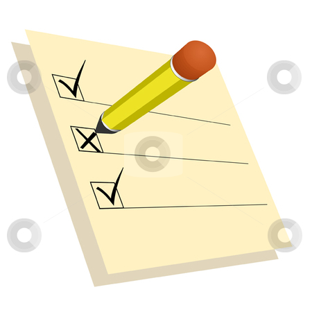 Surveys stock vector clipart, Pad with pencil and check marks by Ira J Lyles Jr