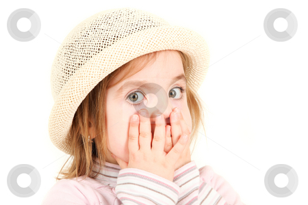 Portrait of young girl in hat with hands on face and shocked exp stock photo, Portrait of young girl in hat with hands on face and shocked expression by Tom P.