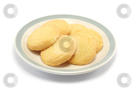 Shortbread cookies on a plate stock photo, Six shortbread biscuits/cookies on a plate by Helen Shorey