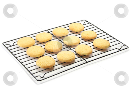 Shortbread and Cooling Rack stock photo, All butter shortbread rounds on a cooling rack by Helen Shorey