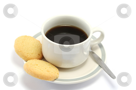 Coffee and Biscuits stock photo, Cup of black coffee with 2 shortbread biscuits on the side by Helen Shorey