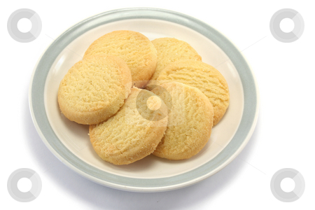 Shortbread on a Plate - high viewpoint stock photo, Six tasty round shortbread biscuits on a teaplate, taken from a fairly high point of view by Helen Shorey