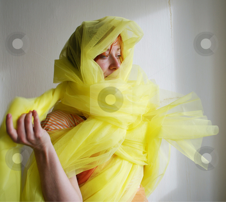 Girl in a tulle stock photo, A girl hiden in a tulle by Sarka