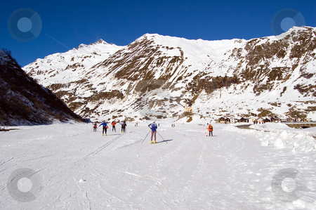 Cross-country ski park stock photo, Cross country ski area in Formazza, Alps, Italy by Roberto Marinello