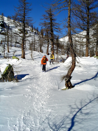 Winter snowhoes trekking stock photo, Winter snowhoes trekking in high mountain; destination: paradise. by Roberto Marinello