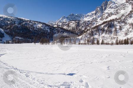Sunny winter mountain landscape stock photo, Sunny winter mountain landscape Alpe Devero; Alps, Italy by Roberto Marinello
