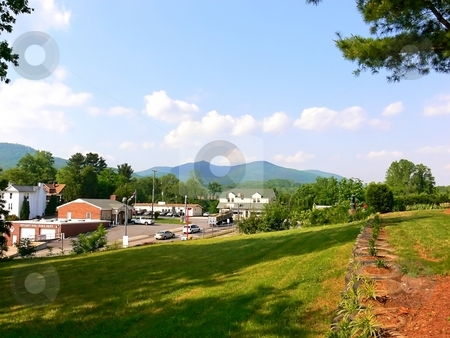 Virginia landscape  stock photo, Landscape in Virginia, Stuart, with the blue mountain in the background by Horst Petzold