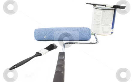 Painting Supplies stock photo, Painting supplies laying on a white background by John Teeter