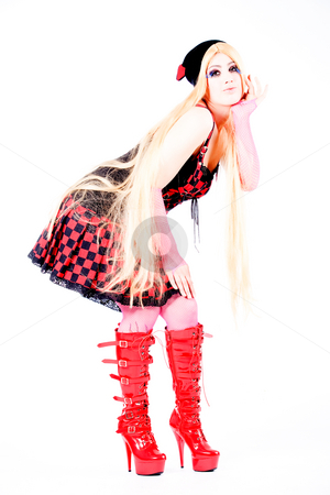 Girl with long hair dressed harajuku style stock photo, Studio shot of a young girl dressed up like japanese harajuku style girls by Frenk and Danielle Kaufmann