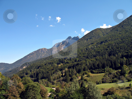 Mountain landscape Valle Vigezzo stock photo, A mountain landscape in Valle Vigezzo, Italy,  wood and peaks at the beginning of fall season by Roberto Marinello