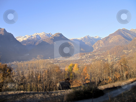 Mountain valley hdr panorama stock photo, A panorama of Ossola Valley. Mountains in fall season with the first snow, Italy, HDR by Roberto Marinello