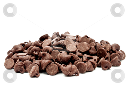 A horizontal images of a piloe of chocolate chips  stock photo, A horizontal images of a piloe of chocolate chips by Vince Clements