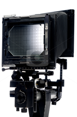 A vertical view of the back of a large format 4x5 view camera on stock photo, A vertical view of the back of a large format 4x5 view camera on white by Vince Clements