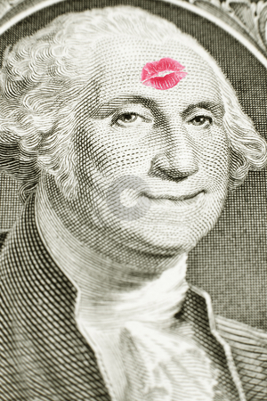 Lipstick kiss on one dollar bill stock photo, Lipstick kiss on George Washington's forehead, George Washington smiling, money by Bryan Mullennix