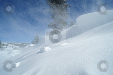 Blowing Snow And Drifts stock photo, Clear day in the high mountains, high winds causing drifiting snow. by Lynn Bendickson