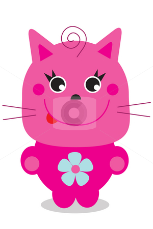 Pink cat stock photo, Pink cartoon character of a cat by Nancy Dunkerley