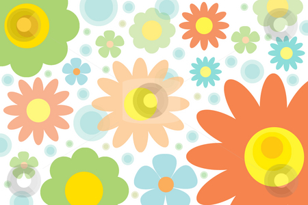 Funky flowers stock photo, Funky colorful flower background by Nancy Dunkerley
